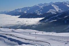 Zona dello sci sopra le nuvole del mare Immagini Stock Libere da Diritti