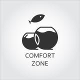 Zona di comodità piana nera dell'icona di vettore, acquario e pesce di salto Immagine Stock Libera da Diritti