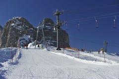 Zona di corsa con gli sci della montagna di Dachstein Immagini Stock Libere da Diritti