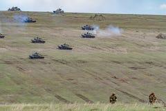 Zona di guerra con i carri armati Fotografia Stock