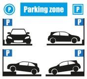Zona di parcheggio di varietà con l'illustrazione alla moda dei segni P Illustrazione di Stock