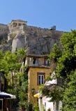 Zona di Plaka e l'acropoli alla Grecia Immagine Stock Libera da Diritti