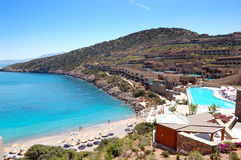 Zona di ricreazione e spiaggia dell'albergo di lusso Fotografia Stock Libera da Diritti