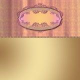 Zona di testo dell'oro sulla priorità bassa di colore rosa del damasco Fotografie Stock