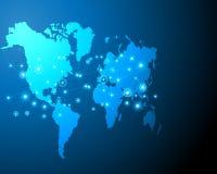 Zona digital cibernética del negocio del sistema en línea del bigdata del mapa del mundo por ilustración del vector