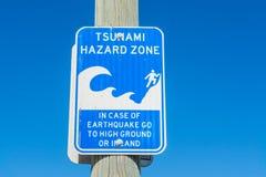 A zona do perigo do tsunami assina dentro Los Angeles Fotos de Stock Royalty Free