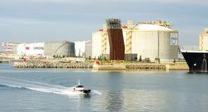Zona industriale e bacini sulla costa della Tunisia Fotografia Stock