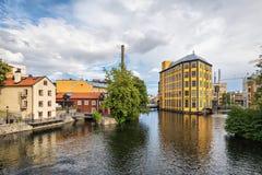 Zona industriale storica del tessuto in Norrkoping, Svezia Fotografie Stock