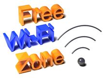 Zona livre de WiFi no fundo branco Imagens de Stock Royalty Free
