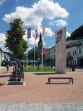 Zona peatonal en Dolny Kubin Foto de archivo