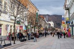 Zona peatonal en el centro de ciudad de Zilina Imágenes de archivo libres de regalías