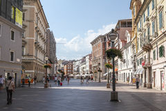 Zona pedestre em Rijeka, Croácia Foto de Stock