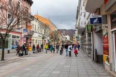 Zona pedestre no centro de cidade de Zilina Imagens de Stock Royalty Free