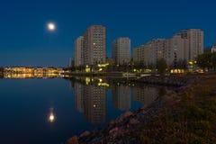 Zona residenziale della spiaggia alla notte Fotografie Stock Libere da Diritti