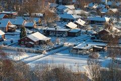 Zona residenziale in inverno Fotografie Stock