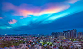 Zona residenziale in un sobborgo cinese nella sera Fotografie Stock Libere da Diritti