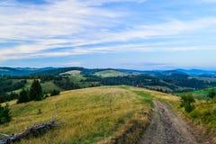 Zona rurale nei cieli drammatici di sotto carpatici Immagini Stock
