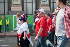 Zona ucraina del fan durante l'EURO 2012 dell'UEFA Immagine Stock Libera da Diritti