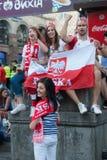 Zona ucraina del fan durante l'EURO 2012 dell'UEFA Fotografie Stock