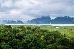 Zona verde del bosque del mar dentro del golfo de Phang Nga foto de archivo libre de regalías