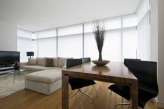 Zona vivente moderna con il grande sofà del progettista immagini stock libere da diritti