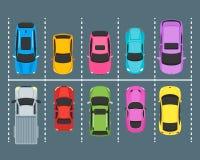Zonas de estacionamento dos desenhos animados com opinião superior dos carros Vetor ilustração stock