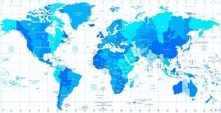 Zonas de horas padrão detalhadas do mapa do mundo Fotos de Stock