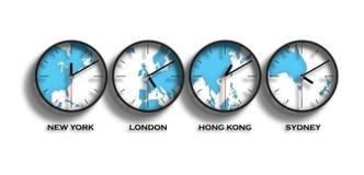 Zonas horarias del mapa del mundo stock de ilustración