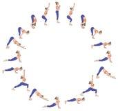 Zonbegroeting Surya Namaskara B Yogaopeenvolging Stock Fotografie