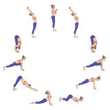 Zonbegroeting Suryanamaskara Yogaopeenvolging Royalty-vrije Stock Afbeeldingen