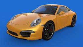 Zonder netwerk Het beeld van een sporten gele auto op een blauwe achtergrond 3D Illustratie Stock Afbeeldingen