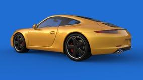Zonder netwerk Het beeld van een sporten gele auto op een blauwe achtergrond 3D Illustratie Royalty-vrije Stock Fotografie