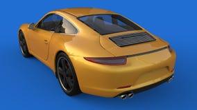 Zonder netwerk Het beeld van een sporten gele auto op een blauwe achtergrond 3D Illustratie Stock Foto's