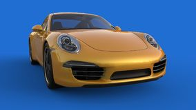 Zonder netwerk Het beeld van een sporten gele auto op een blauwe achtergrond 3D Illustratie Stock Fotografie