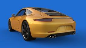 Zonder netwerk Het beeld van een sporten gele auto op een blauwe achtergrond 3D Illustratie Royalty-vrije Stock Afbeelding