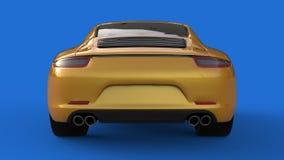 Zonder netwerk Het beeld van een sporten gele auto op een blauwe achtergrond 3D Illustratie Royalty-vrije Stock Afbeeldingen