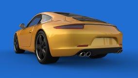Zonder netwerk Het beeld van een sporten gele auto op een blauwe achtergrond 3D Illustratie Stock Afbeelding