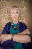 Zonderlinge Dame met Wilde Ogen Stock Afbeelding