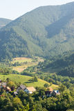 Zone agricole elaborate nelle montagne della Serbia Fotografia Stock