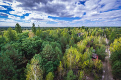 Zone of Alienation. Aerial view of Chernobyl Exclusion Zone, Ukraine Royalty Free Stock Image
