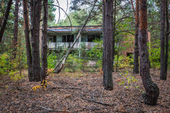 Zone of Alienation. Building in abandoned summer camp in Chernobyl Exclusion Zone, Ukraine Royalty Free Stock Image