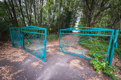 Zone of Alienation. Cemetery gate in abandoned Pripyat city in Chernobyl Exclusion Zone, Ukraine Royalty Free Stock Images