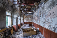 Zone of Alienation. Communication center building of abandoned military town called Chernobyl-2 in Chernobyl Exclusion Zone, Ukraine Stock Photos