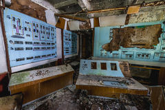 Zone of Alienation. Duga radar control room in Chernobyl Exclusion Zone, Ukraine Royalty Free Stock Photo