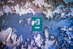 Zone of Alienation. Exit sign in former military camp Chernobyl-2, Chernobyl Exclusion Zone in Ukraine Royalty Free Stock Photos