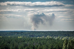 Zone of Alienation. Forest fire smoke in Chernobyl Exclusion Zone, Ukraine Stock Image