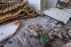 Zone of Alienation. Gas mask in abandoned military town called Chernobyl-2 in Chernobyl Exclusion Zone, Ukraine Royalty Free Stock Image