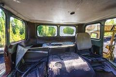 Zone of Alienation. Old car in Pripyat city, Chernobyl Exclusion Zone, Ukraine Royalty Free Stock Photo