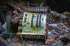 Zone of Alienation. Old cashbox in abandoned Pripyat city in Chernobyl Exclusion Zone, Ukraine Stock Images
