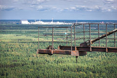 Zone of Alienation. View from abandoned radar called Russian Woodpecker, Chernobyl Exclusion Zone, Ukraine Royalty Free Stock Image